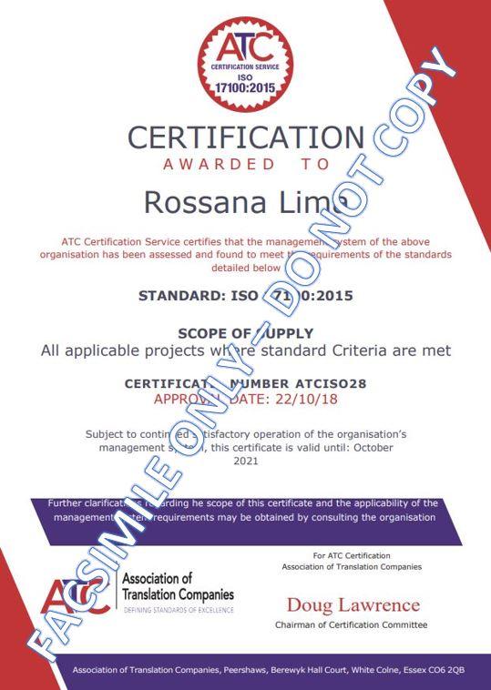 ISO 17100-2015 cert - facsimile